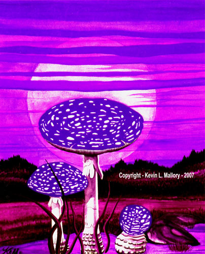 3 - Amanita Moonrise - Gouache Tempera Watercolour Painting