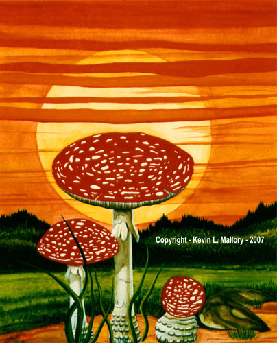 2 - Amanita Sunset - Gouache Tempera Watercolour Painting