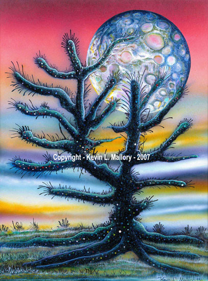 7 - The Cosmic Cactus of Io - Ink Airbrushed Painting