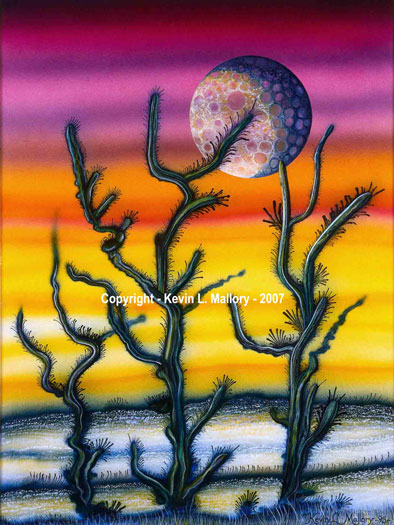 8 - The Lunar Cactus - Ink Airbrushed Painting